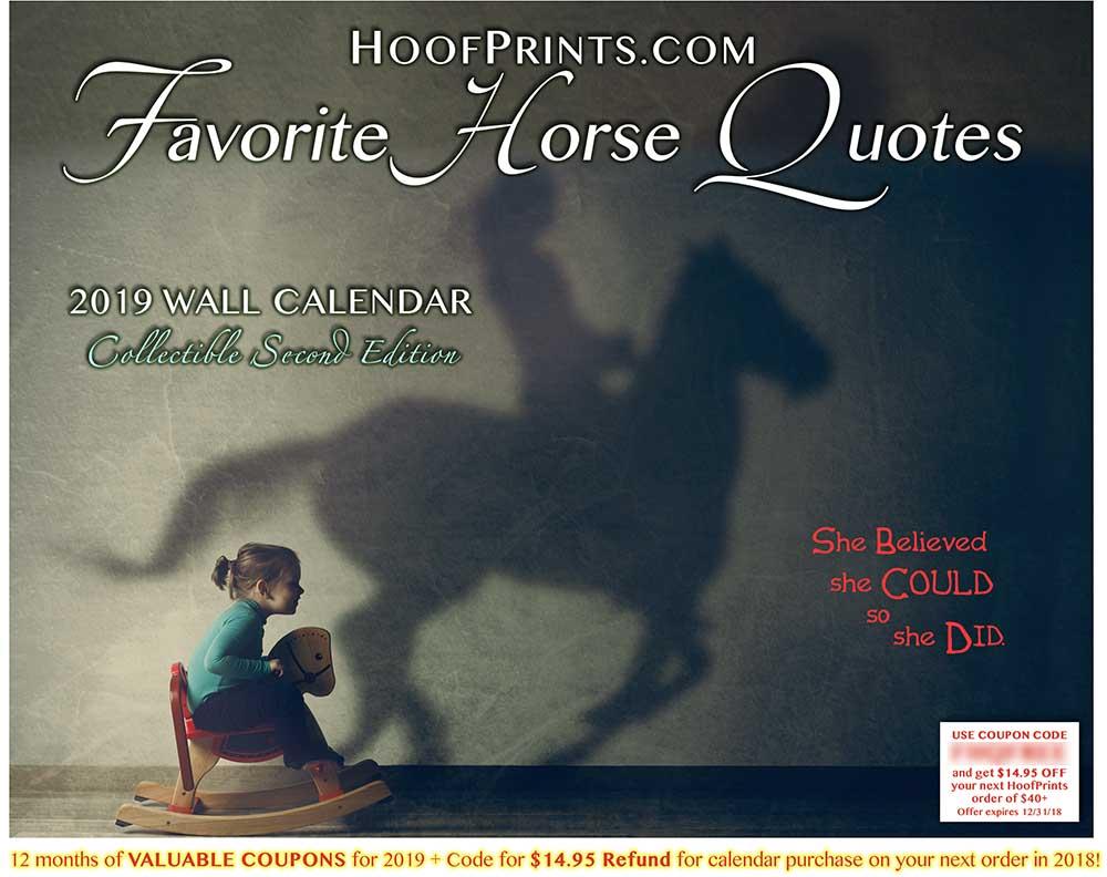 2019 Favorite Horse Quotes Calendar Half Price Wwwhoofprintscom