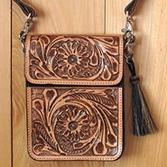 Handtooled Genuine Leather Cross Body Cell Phone Purse