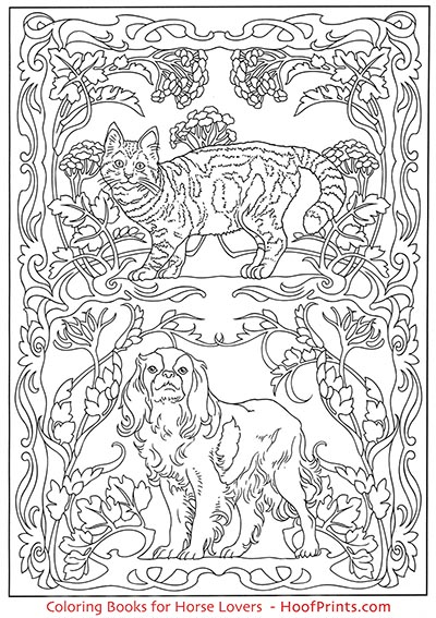 Art Nouveau Animal Designs Coloring Book-www.hoofprints.com
