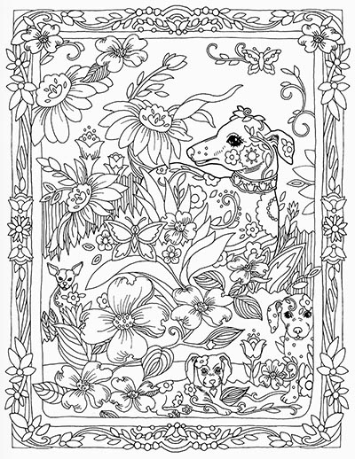 Dazzling Dogs Coloring Book Loading Zoom