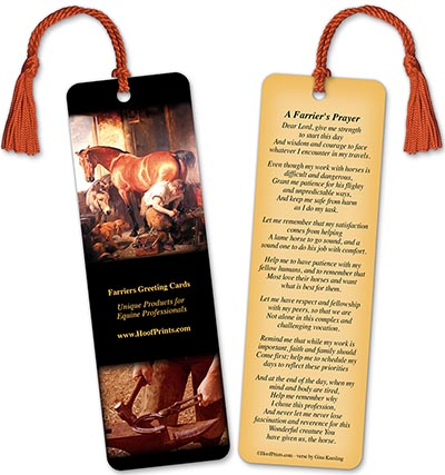 Farrier's Prayer Bookmark with Red Tassel