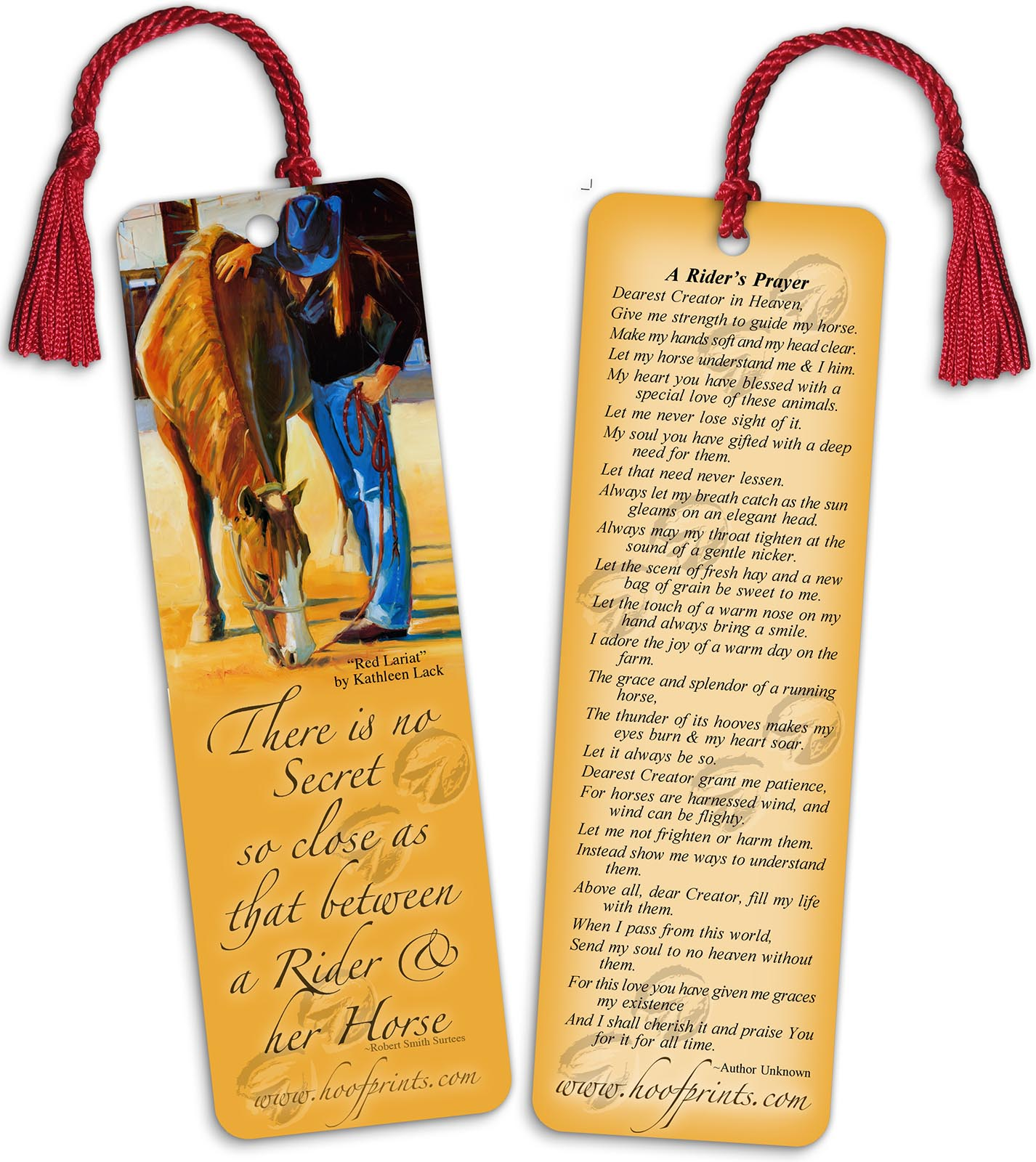 riders prayer bookmark with red tassel www