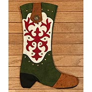 Cowboy Boot Christmas Stocking Green and White