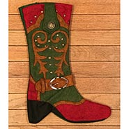 Cowboy Boot Christmas Stocking - Red and Green