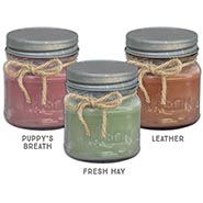 Set of Three Candles for Dog and Horse Lovers - Puppy's Breath - Fresh Hay - Leather