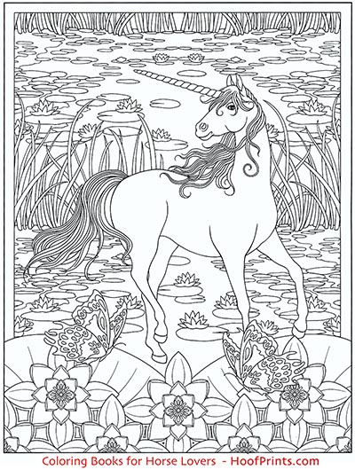 Creative Haven Unicorns Coloring Book-www.hoofprints.com