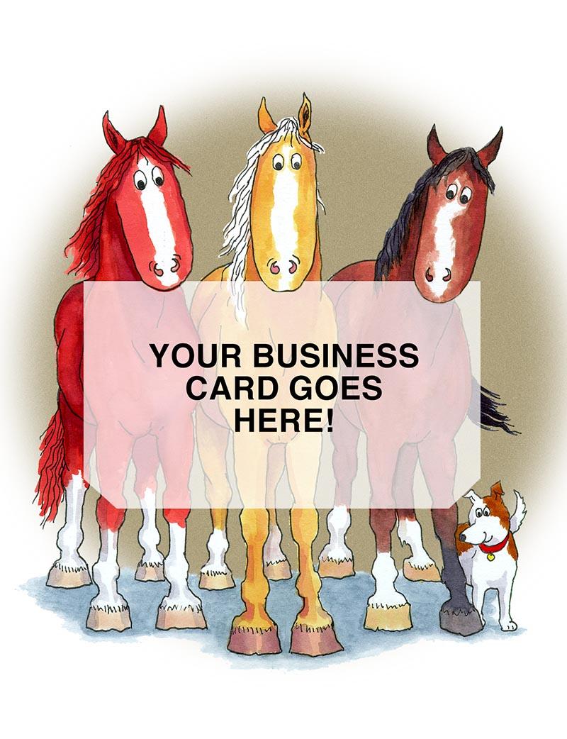 3 horses business card holder card hoofprints 3 horses business card holder card colourmoves Choice Image