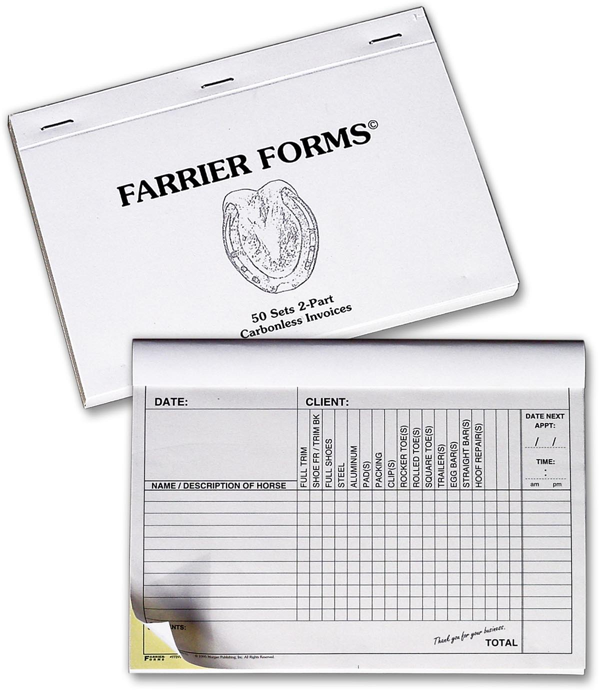 farrier forms invoice pad