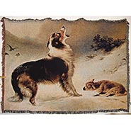 Found Collie and Lamb Woven Tapestry