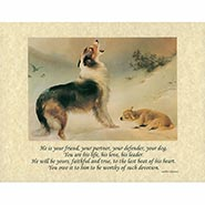 Found dog & lamb 8x10 print with Verse on Parchment