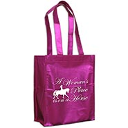 Metallic Pink Bag - A Woman's Place is on a Horse