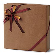 Brown Leather Heavy Embossed Gift Wrap Roll