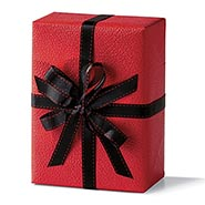 Red Leather Heavy Embossed Gift Wrap Roll