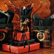 8 Piece Gift Wrap Assortment Plaid with Metallic Gold Horseshoe