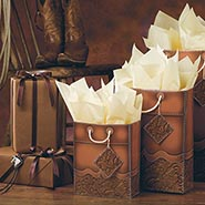 8 Piece Gift Wrap Assortment Tooled Leather Design with Rope Accents