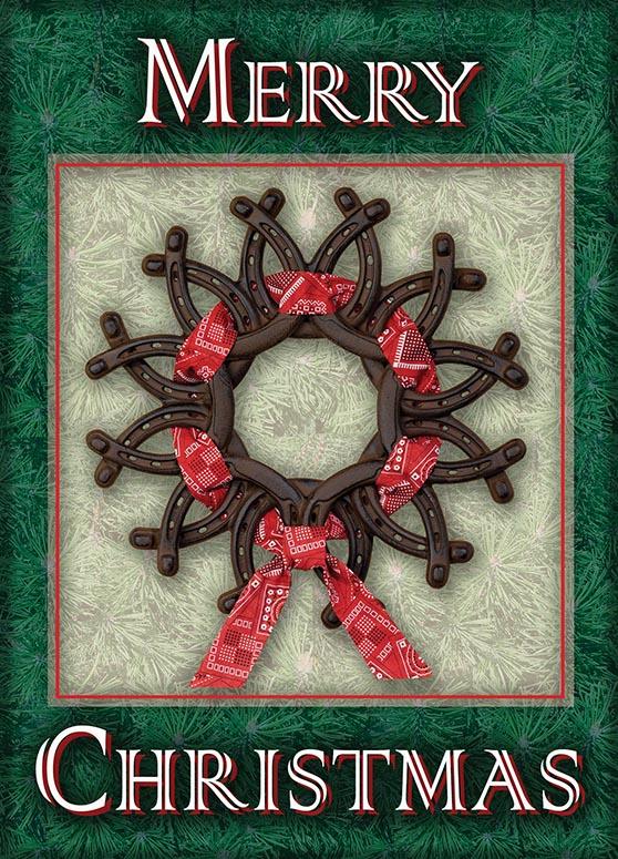 horseshoe wreath card - Horseshoe Christmas Wreath