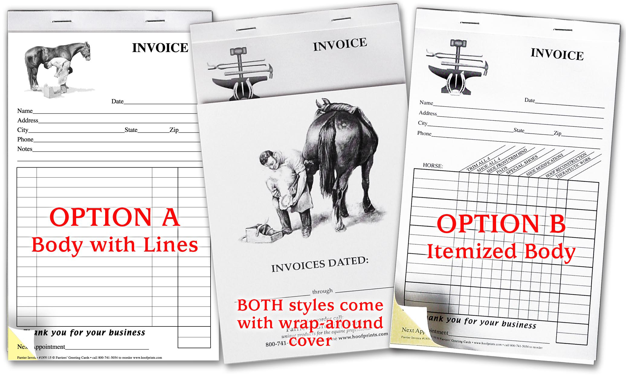 Stock Invoices - NO MINIMUM order-www.hoofprints.com