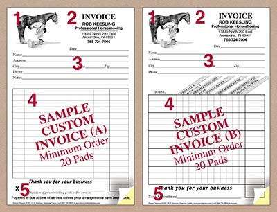 Custom invoice pads modern farrier design wwwhoofprintscom for Invoice pads personalized