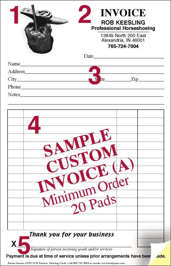 custom invoice pads hammer anvil design wwwhoofprintscom With custom invoice pads