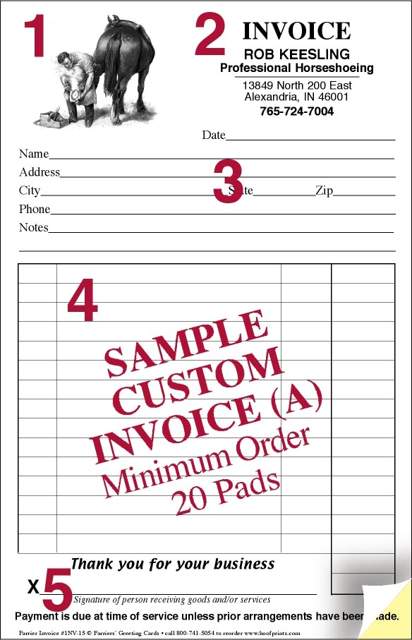 CUSTOM Invoice Pads   Engraved Farrier Design  Invoice Books Custom
