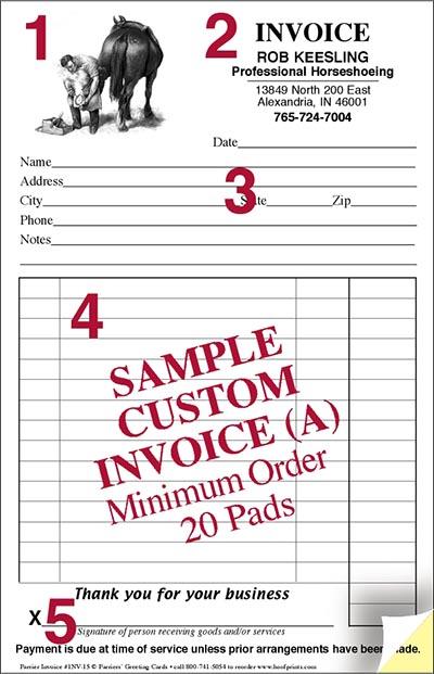 CUSTOM Invoice Pads Engraved Farrier Designwwwhoofprintscom - Business invoice pads