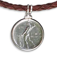 Blacksmith Coin Pendant on Braided Leather Necklace