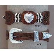 Tooled Leather Heart Bracelet with Fancy Buckle