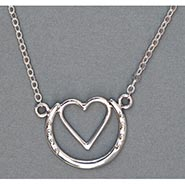 Stylized Sterling Silver Horseshoe Heart Necklace