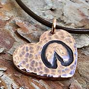 Copper HoofPrint on my Heart Necklace