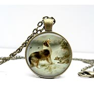 Found Glass Dome Vintage Dog Art Necklace