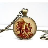 Glass Dome Necklace Vintage Indian Horsewoman