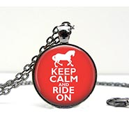 Glass Dome Necklace Keep Calm & Ride On