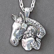 Sterling Silver Horse Girl Necklace