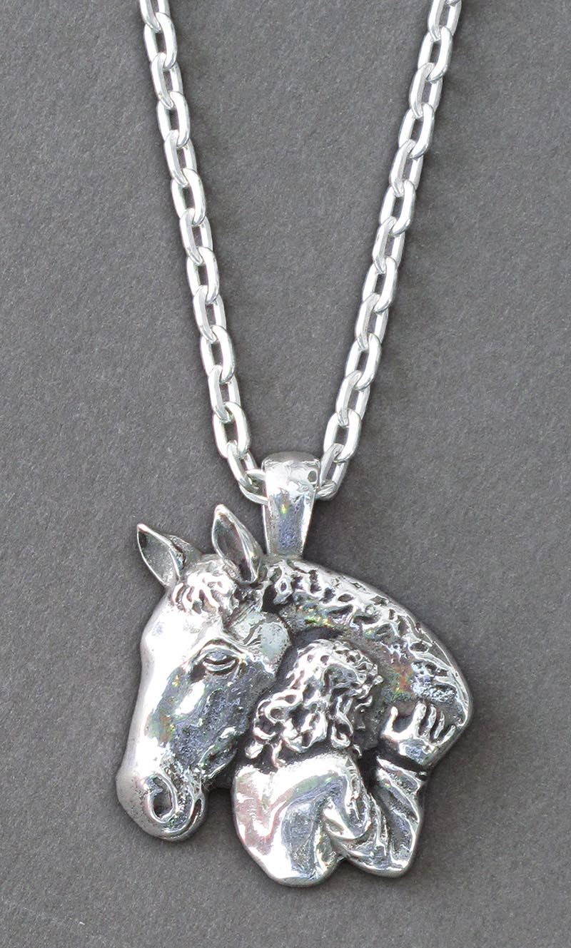 Sterling silver horse girl necklace hoofprints sterling silver horse girl necklace aloadofball Gallery