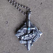 Let Jesus Take The Reins Pewter Pendant on Ball Chain