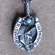 RIDE MORE WORRY LESS Pewter Pendant on Ball Chain