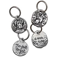 Set of 2 Pewter Dog Keychains - Perfect Angel & Good Dog