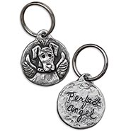 Perfect Angel Pewter Dog Keychain