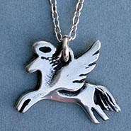 Pewter Angel Horse Necklace ** SALE $5.00 OFF **