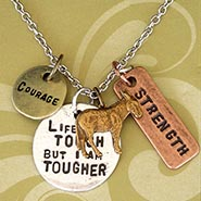 Stamped Charm Necklace - Life Is Tough with Donkey Charm
