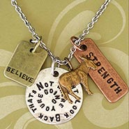 Stamped Charm Necklace - Don't Look Back with Donkey Charm