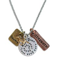 Stamped Charm Necklace - Don't Look Back