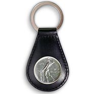 Vulcan Coin Black Leather Keychain