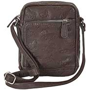 Faux  Leather Embossed Horses Cross Body Purse