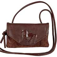 Brown Faux Tooled Leather Embossed Horse String Purse **SALE $5.00 OFF**