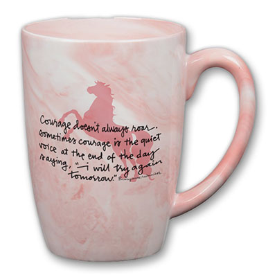 Courage doesn't always roar... White/Pink Marbled Mug