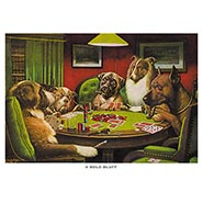 A Bold Bluff Poker Dogs Print by C M Coolidge