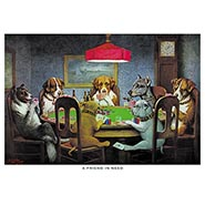 A Friend in Need Poker Dogs Print by C. M. Coolidge