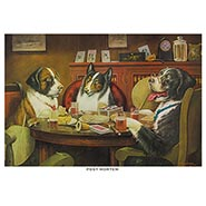 Post Mortem Poker Dogs Print by C M Coolidge
