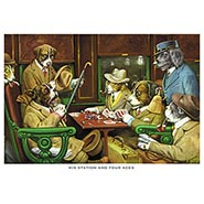 His Station with Four Aces Poker Dogs Print by C M Coolidge